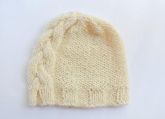 Bonnet à torsade, tricoté avec amour, alpaga, mohaire et soie, taille unique