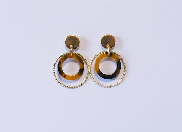 Boucles d'oreilles pièce unique, en acier inoxydable doré, 30mm