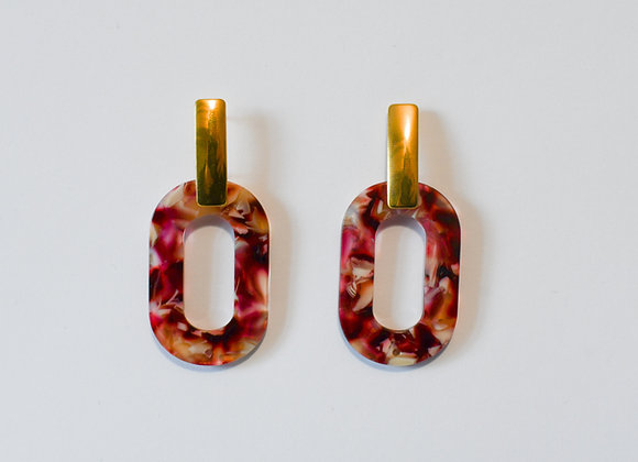 Boucles d'oreilles pièce unique, en acier inoxydable doré, 53mm