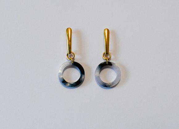 Boucles d'oreilles pièce unique en acier inoxydable doré, 35mm
