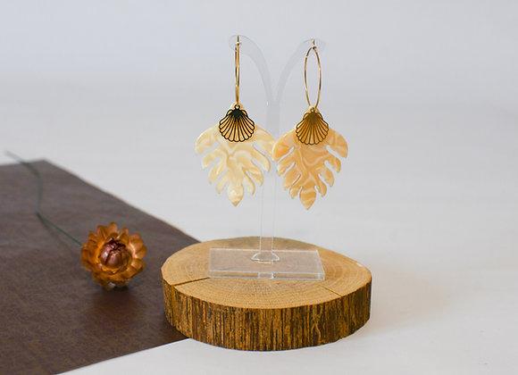 Boucles d'oreilles pièce unique en acier inoxydable doré, 67mm