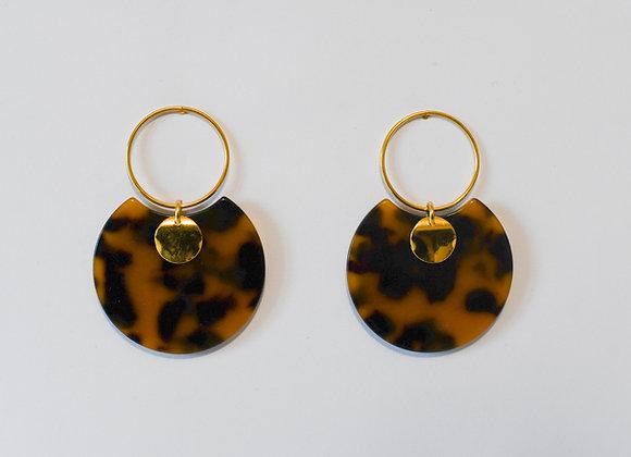 Boucles d'oreilles pièce unique, en acier inoxydable doré, 52mm
