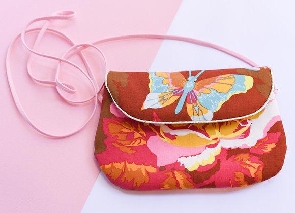 Petit sac à main / pochette en tissu imprimé, 18,5x12 cm