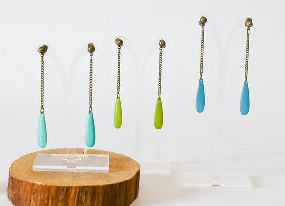 """Boucles d'oreilles """"Goutte d'eau"""" en laiton, réversible, pièces uniques, 65mm"""