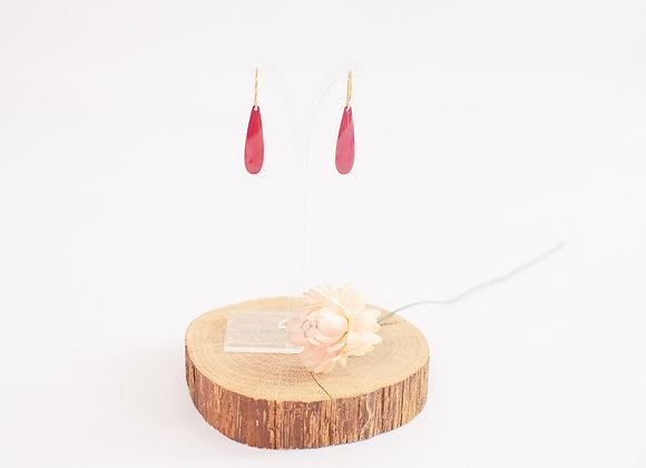 Boucles d'oreilles en laiton émaillé rouge, pièce unique, 34mm
