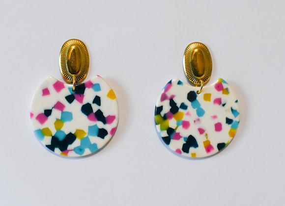 Boucles d'oreilles pièce unique en acier inoxydable doré, 49mm