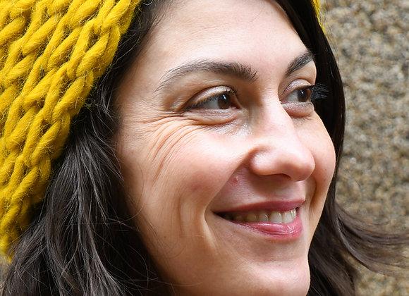Bandeau large alpaga et laine, tricoté main, taille unique