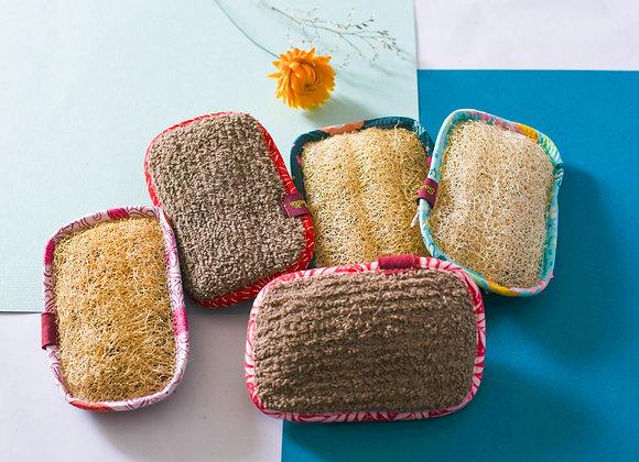 Eponge lavable fibres naturelles, coton et luffa