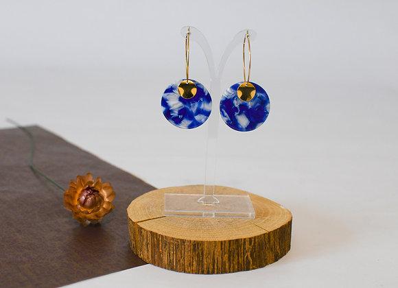 Boucles d'oreilles pièce unique, en acier inoxydable doré, 49mm
