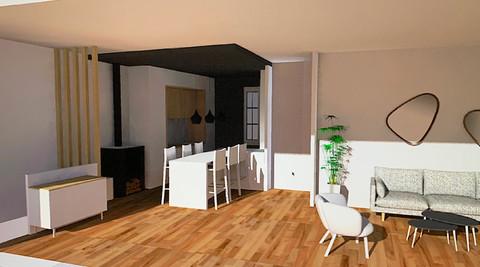 Viusalisation 3D salon / cuisine