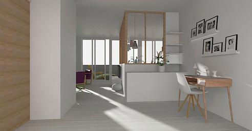 Visualisation 3D entrée sur salon et cuisine ouverte