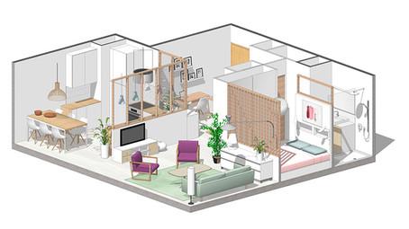 Plan 3D appartement en rénovation