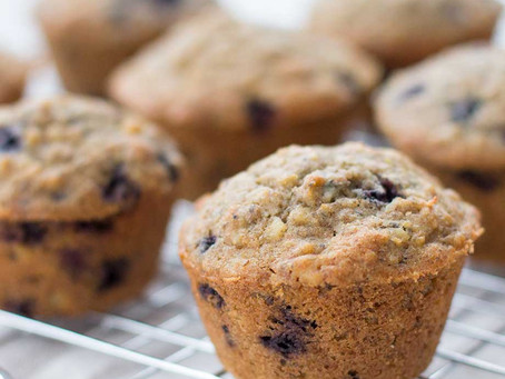 Blueberry Almond Oat Muffins (Low Sugar and Wheat Free)