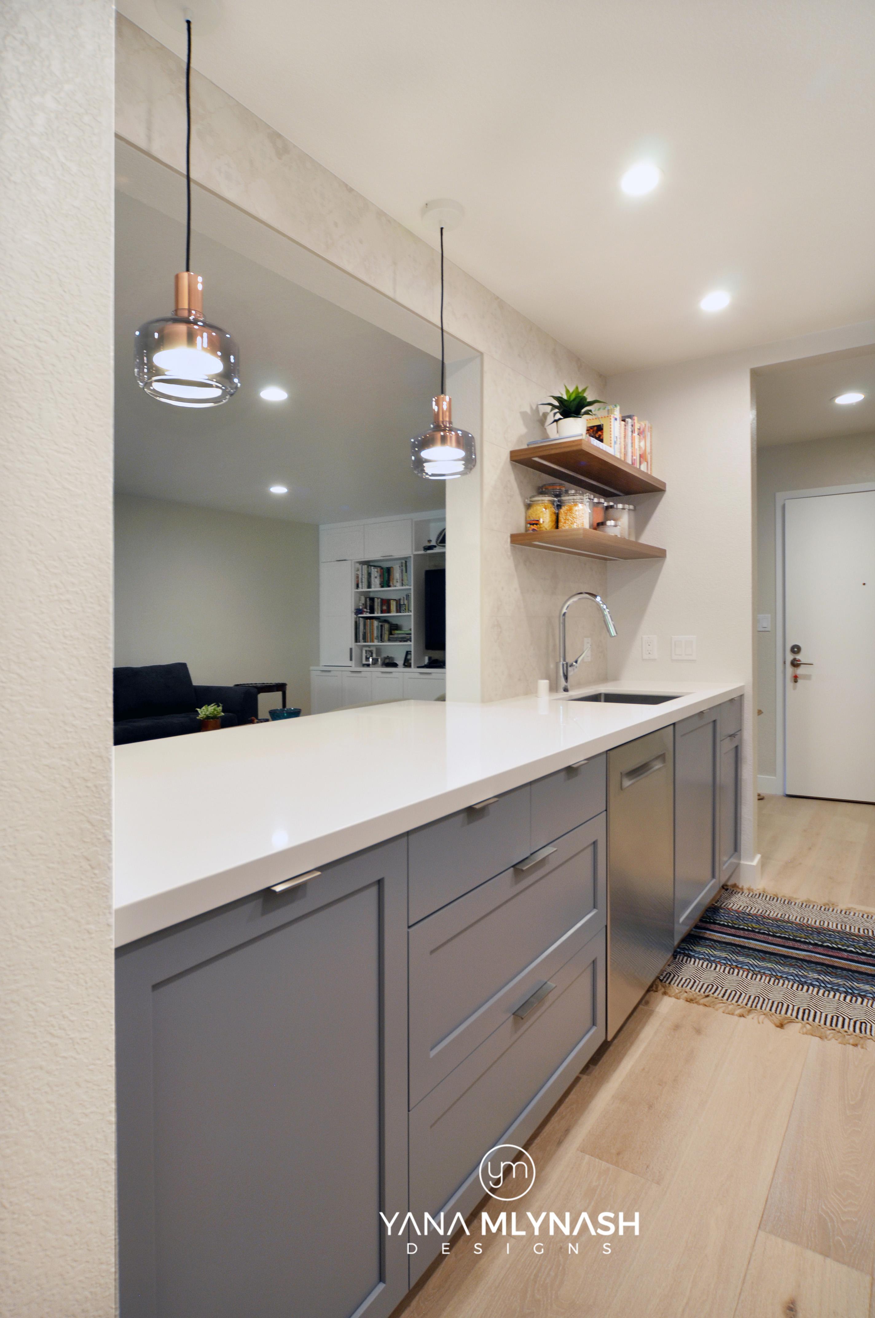 Modern galley kitchen blue/white