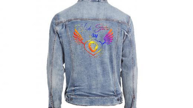 HS Vintage Denim color Logo Jacket