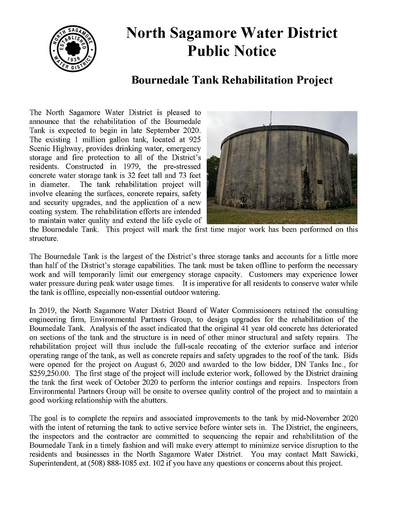 Bournedale Tank Rehabilitation Notice -