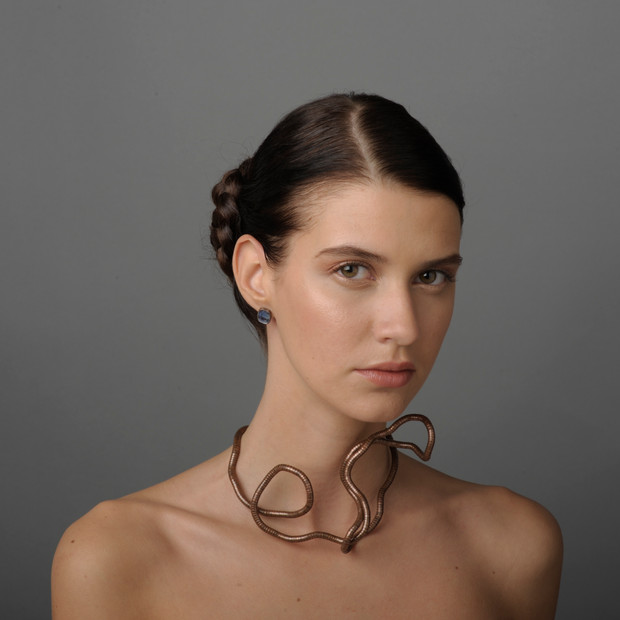Jewelry photoshoot with cohesive makeup. Hair: Kim Grabow. Model: Vladica Mijatovic. Photographer: Damian Sandone.