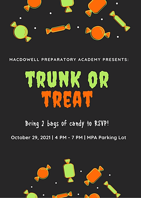 Orange and Neon Green Candy Pattern Trick or Treat Halloween Flyer.png