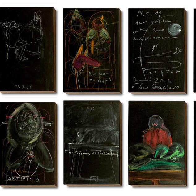 """Sebi Tramontana, Italien, """"RETABLO"""", Zeichnungen, Installation"""