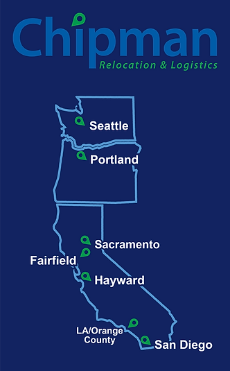 Chipman Relocation & Logisitcs West Coast Map