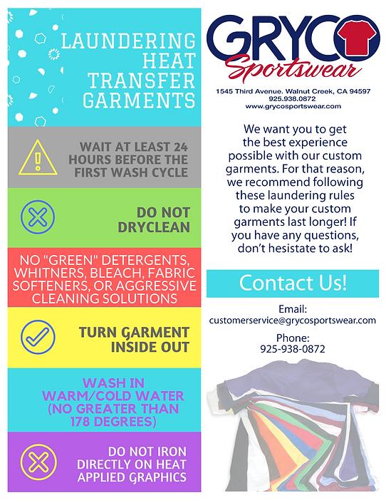 Heat Transfer Laundering Care