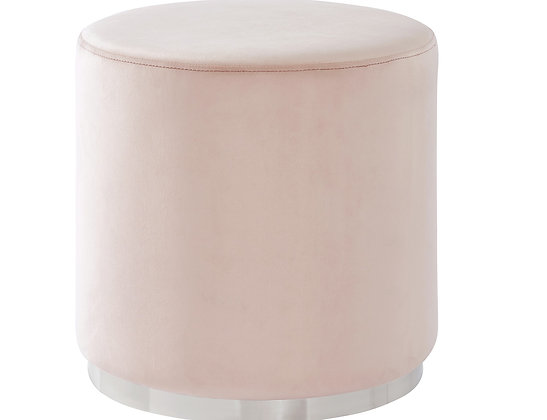 Opus Round Ottoman in Blush and Silver