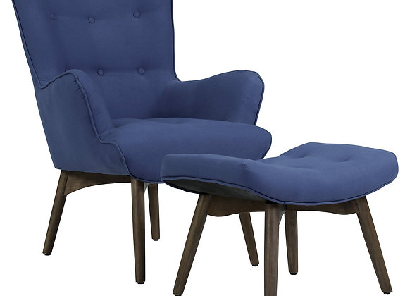 Shane Accent Chair W/Stool in Dark Blue