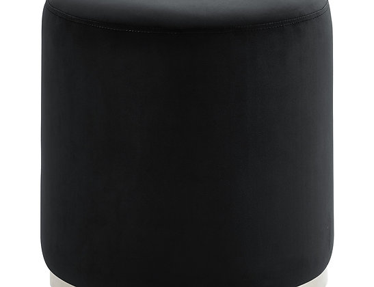 Opus Round Ottoman in Black and Silver