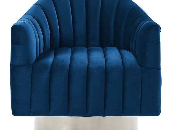 Cortina Accent Chair in Blue and Silver