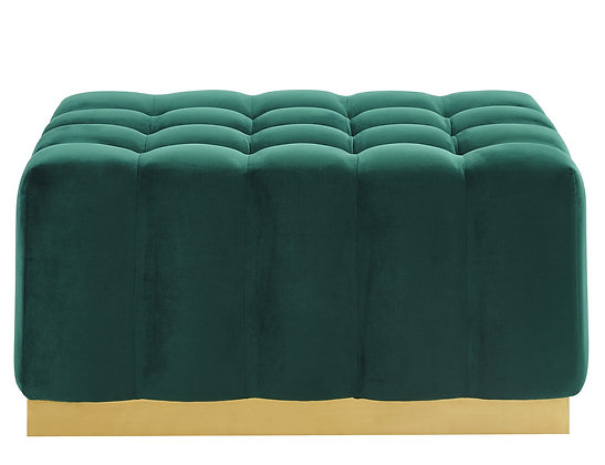 Magnum Rectangular Ottoman in Green and Gold