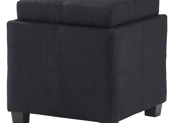 Luxy Square Storage Ottoman in Black