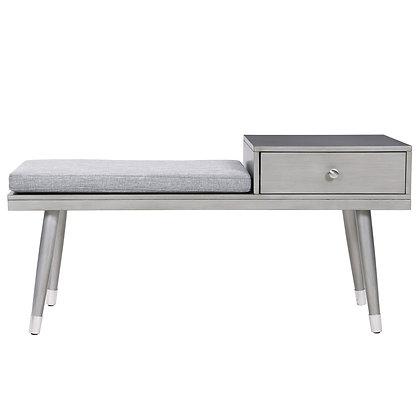 Elba Bench W/Drawer in Grey