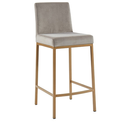 Diego 26'' Counter Stool in Grey/Gold Legs 2pk