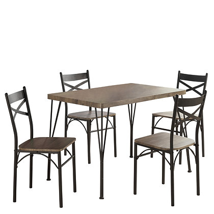 Tiago 5Pk Dining Set in Rustic Oak
