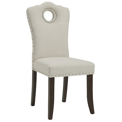 Elise Side Chair in Walnut/Beige 2pk