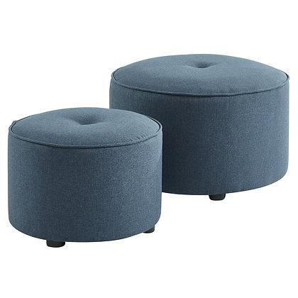 Etro 2pc Round Ottoman Set in Blue