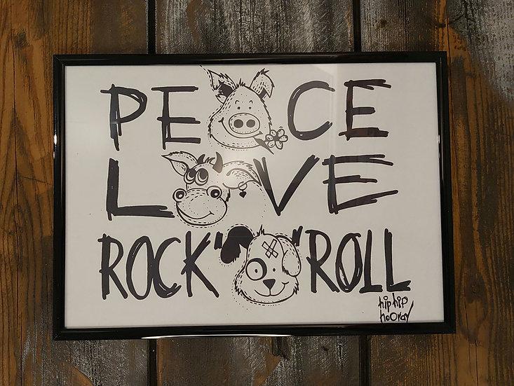 TanjART Peace Love Rock n' Roll Druck Maße 33 cm X 23 cm