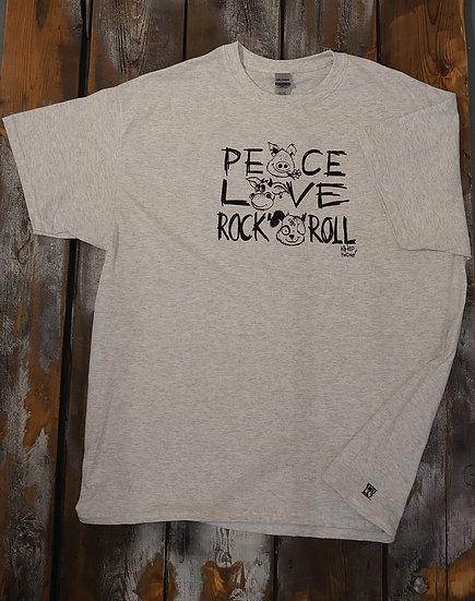 T-Shirt men grau Peace Love Rock n Roll
