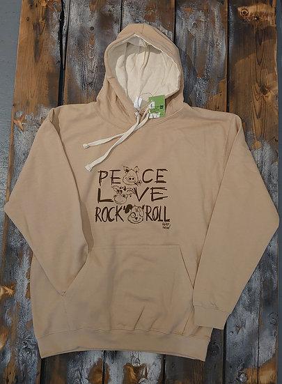Hoodie Braun    Peace Love Rock n Roll