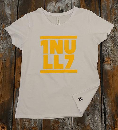 T-Shirt ladies weiß 1Null7 Druck gelb