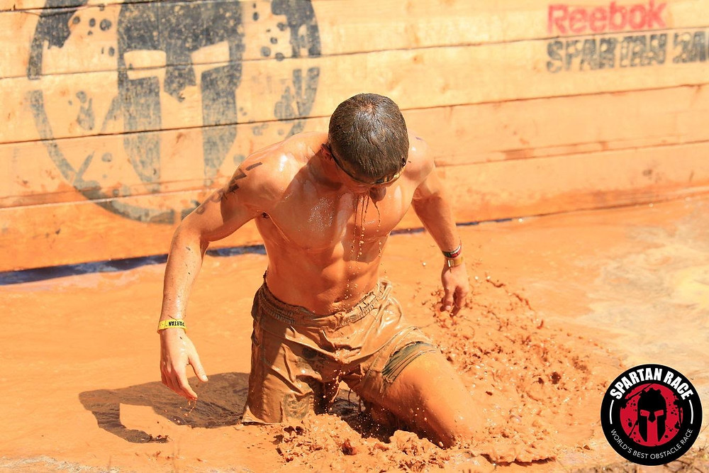 Harrison Phillips exiting the mud hole obstacle