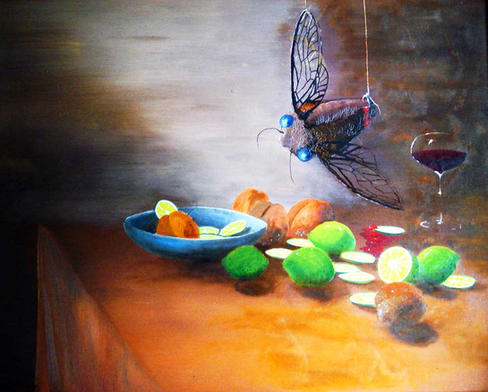 Still life cicada fresh fimes and rottening peaches