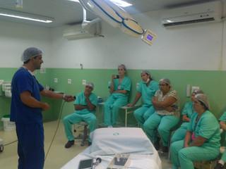 Equipe do Centro Cirúrgico participa de treinamento para cirurgias videolaparoscopicas