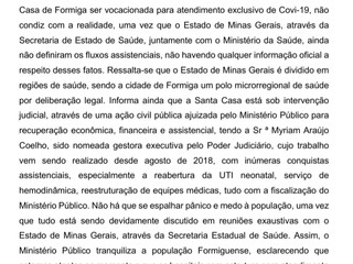 Ministério Público esclarece rumores da possibilidade da Santa Casa de Formiga atender exclusivament