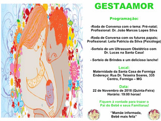 Roda de conversa do GESTAAMOR, ocorrerá quinta-feira, 22/11 na Maternidade da Santa Casa de Caridade
