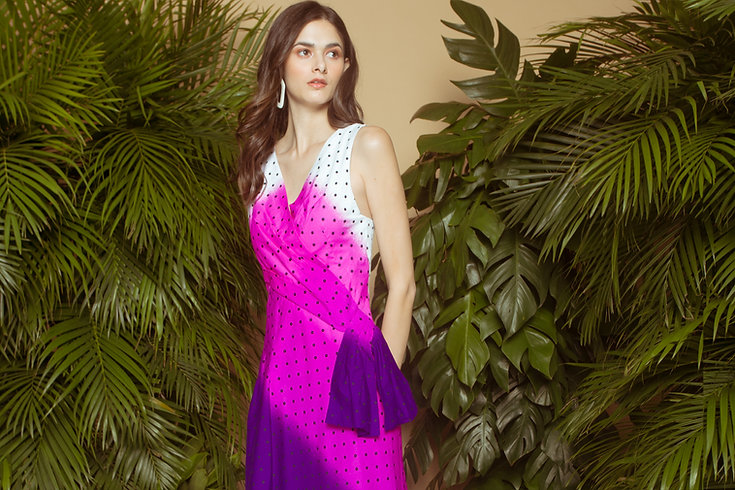Violet polka dot draped dress.jpg