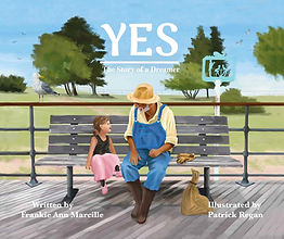 Yes cover art. A young girl and old man are sitting on a bench smiling at each other.