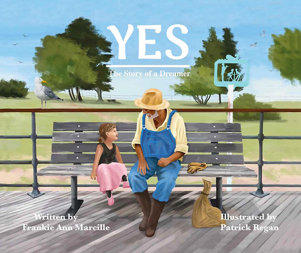 Yes cover art. Young girl and old man sit on a bench talking to each other. They are smiling.