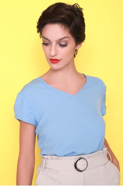 Blusa Crepe Decote V com Detalhe na Lateral