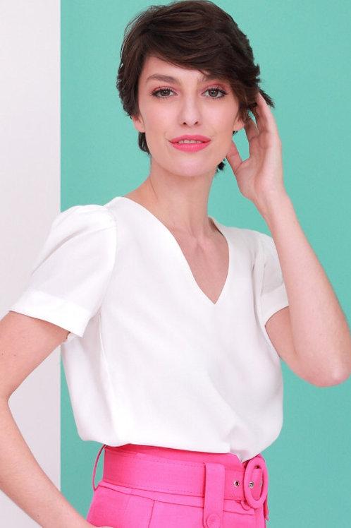 Blusa Crepe com Manga Bufante Branca